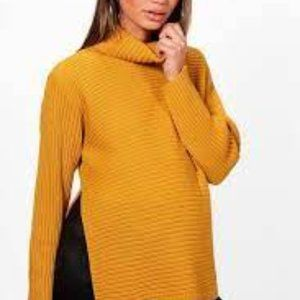 BOOHOO | Yellow Side Split Maternity Turtleneck 8